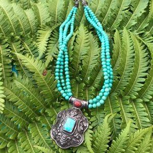 Vintage turquoise bead pendant necklace boho